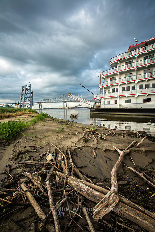 The Queen of the Americas paddleboat cruise ship ties up to the dock of Baton Rouge. Low water levels from the severe drought across the U.S. makes shipping increasingly difficult on the Mississippi River.