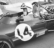 British BRM driver, John Surtees, before training sessions of the 1969 Spanish Grand Prix at the Montjuïc urban circuit in Barcelona, Spain.