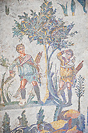 Hunters looking for birds in a tree from the Room of The Small Hunt, no 25 - Roman mosaics at the Villa Romana del Casale which containis the richest, largest and most complex collection of Roman mosaics in the world, circa the first quarter of the 4th century AD. Sicily, Italy. A UNESCO World Heritage Site. .<br /> <br /> If you prefer to buy from our ALAMY PHOTO LIBRARY  Collection visit : https://www.alamy.com/portfolio/paul-williams-funkystock/villaromanadelcasale.html<br /> Visit our ROMAN MOSAICS  PHOTO COLLECTIONS for more photos to buy as buy as wall art prints https://funkystock.photoshelter.com/gallery/Roman-Mosaics-Roman-Mosaic-Pictures-Photos-and-Images-Fotos/G00008dLtP71H_yc/C0000q_tZnliJD08