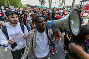 Anti-racism demonstrators organised by the Black Lives Matter movement held the fourth weekend of protests in Central London, on Sunday, June 21, 2020. Anger against systemic levels of institutional racism have raged through the city, and worldwide; sparked by the death of George Floyd in the United States last month. (Photo/ Vudi Xhymshiti)