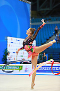 Staniouta Melitina during qualifying at ribbon in Pesaro World Cup 02 April 2016. Melitina is an Belarusian rhythmic gymnast, she was born in 15 November 1993 Minsk. She is a three time World All-around bronze medalist in 2015, 2013, 2010 retired from rhythmic gymnastics in December 2016.