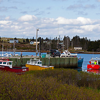 North America, Canada, Nova Scotia, Sheet Harbour. Colorful boats of Sheet Harbour.