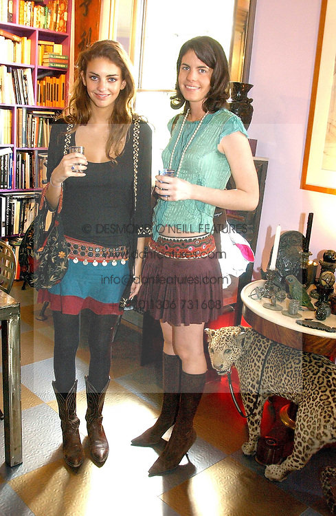 Left to right, ROSE HANBURY and LADY LAURA CATHCART at a launch preview sale of Nathalie Hambro's new line of fashion accessories 'Full of Chic' held at her home 63 Warwick Square, London SW1 on 5th May 2005.<br /><br />NON EXCLUSIVE - WORLD RIGHTS