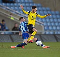 Oxford United's Marcus Browne (right) is tackled by Blackpool's Oliver Turton (left) <br /> <br /> Photographer David Horton/CameraSport<br /> <br /> The EFL Sky Bet League One - Oxford United v Blackpool - Saturday 1st February 2020 - Kassam Stadium - Oxford<br /> <br /> World Copyright © 2020 CameraSport. All rights reserved. 43 Linden Ave. Countesthorpe. Leicester. England. LE8 5PG - Tel: +44 (0) 116 277 4147 - admin@camerasport.com - www.camerasport.com