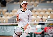 Iga Swiatek of Poland reacts to winning against Simona Halep of Romania her fourth round match at the Roland Garros 2020, Grand Slam tennis tournament, on October 4, 2020 at Roland Garros stadium in Paris, France - Photo Rob Prange / Spain ProSportsImages / DPPI / ProSportsImages / DPPI