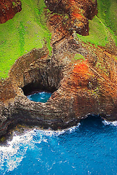 Open-ceiling cave, Na Pali coast, Kauai, Hawaii, Pacific Ocean