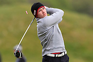 Sean Downes (Royal Dublin) the 18th tee during Round 3 of the Ulster Boys Championship at Donegal Golf Club, Murvagh, Donegal, Co Donegal on Friday 26th April 2019.<br /> Picture:  Thos Caffrey / www.golffile.ie