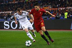 December 5, 2017 - Rome, Italy - Maksim Medvedev of Qarabag and Diego Perotti of Roma during the UEFA Champions League Group C football match AS Roma vs FK Qarabag on December 5, 2017 at the Olympic stadium in Rome, Italy. (Credit Image: © Matteo Ciambelli/NurPhoto via ZUMA Press)