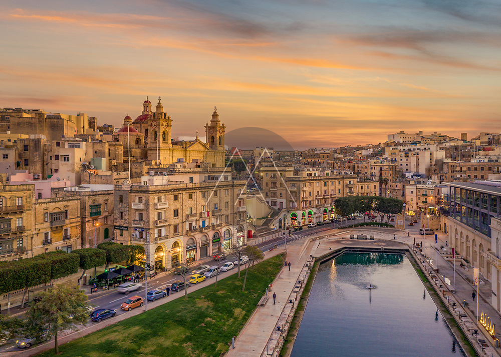 Aerial view of Cospicua cityscape at Malta.