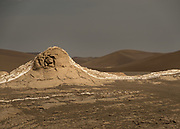 Place name Rig-e Sitora, with displays of Yardangs, sharp irregular ridges of sand lying in the direction of the prevailing wind in exposed desert regions, formed by the wind erosion of adjacent material which is less resistant.