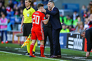 Wales midfielder Daniel James is substituted during the UEFA European 2020 Qualifier match between Wales and Slovakia at the Cardiff City Stadium, Cardiff, Wales on 24 March 2019.