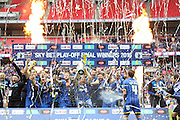 AFC Wimbledon seal promotion to League One, after beating Plymouth Argyle Football Club 2-0 during the Sky Bet League 2 play off final match between AFC Wimbledon and Plymouth Argyle at Wembley Stadium, London, England on 30 May 2016. Photo by Stuart Butcher.