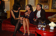 Camilla Nickerson, Tamara Mellon and Patrick Cox. charles Finch and Chanel 6th Anniversary Pre-Bafta party to celebratew A Great Year of Film and Fashion Beyond the Red Carpet at Annabel's. Berkeley Sq. London W1. 18 February 2006. ONE TIME USE ONLY - DO NOT ARCHIVE  © Copyright Photograph by Dafydd Jones 66 Stockwell Park Rd. London SW9 0DA Tel 020 7733 0108 www.dafjones.com