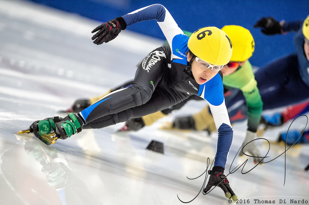 March 18, 2016 - Verona, WI - Christian Kim, skater number 46 competes in US Speedskating Short Track Age Group Nationals and AmCup Final held at the Verona Ice Arena.