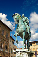 """The """"bronze equestrian statue of Cosimo I"""" by Giambologna (1594), Piazza della Signoria in Florence, Italy, .<br /> <br /> Visit our ITALY PHOTO COLLECTION for more   photos of Italy to download or buy as prints https://funkystock.photoshelter.com/gallery-collection/2b-Pictures-Images-of-Italy-Photos-of-Italian-Historic-Landmark-Sites/C0000qxA2zGFjd_k<br /> .<br /> <br /> Visit our EARLY MODERN ERA HISTORICAL PLACES PHOTO COLLECTIONS for more photos to buy as wall art prints https://funkystock.photoshelter.com/gallery-collection/Modern-Era-Historic-Places-Art-Artefact-Antiquities-Picture-Images-of/C00002pOjgcLacqI"""