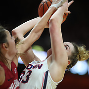 UNCASVILLE, CONNECTICUT- DECEMBER 19:  Katie Lou Samuelson #33 of the Connecticut Huskies is blocked by Maddie Manning #23 of the Oklahoma Sooners during the Naismith Basketball Hall of Fame Holiday Showcase game between the UConn Huskies Vs Oklahoma Sooners, NCAA Women's Basketball game at the Mohegan Sun Arena, Uncasville, Connecticut. December 19, 2017 (Photo by Tim Clayton/Corbis via Getty Images)