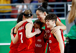 England's Stefanie Collins (right) celebrates silver after the Women's Gold Medal Game at the Gold Coast Convention and Exhibition Centre during day ten of the 2018 Commonwealth Games in the Gold Coast, Australia.