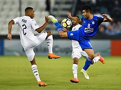 Pedro Ro-Ro (L) of Al Sadd vies for the ball with .Farshid Esmaeili (R) of Esteghlal FC during the AFC Asian Champions League quarter-final second legs football match between Qatar's Al Sadd and Iran's Esteghlal FC at Jassim Bin Hamad Stadium Doha, Capital of Qatar, September 17, 2018. Al Sadd qualifying the semi-finals after a 2-2 draw in the second leg of their quarter-final clash with Esteghlal FC gave them a 5-3 aggregate win  (Credit Image: © Nikku/Xinhua via ZUMA Wire)
