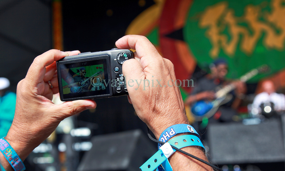 02 May 2014. New Orleans, Louisiana. <br /> Walter 'Wolfman' Washington at the New Orleans Jazz and Heritage Festival. <br /> Photo; Charlie Varley/varleypix.com