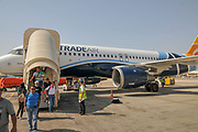 Landing at Ben Gurion International airport, Tel Aviv, Israel. Passenger disembarking
