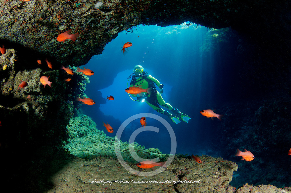 Comino Caves, Santa Marija Caves and scuba diver, Santa Maria Hoehlen und Taucher, Gozo, Comino,  Malta, Sued Europa, Mittelmeer, Mare Mediterraneum, South Europe, Mediterranean Sea