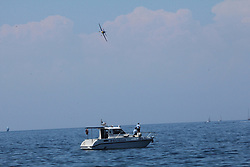 06.06.2015, Porec, CRO, Red Bull Air Race, Porec, Vorberichte, im Bild 06.06.2015, Porec- Red Bull Air Race pilot practicing low flight over the sea. Photo: Robert Mijic/HaloPix/PIXSELL // during the preperation of Red Bull Air Race Championships 2015 in Porec, Croatia on 2015/06/06. EXPA Pictures © 2015, PhotoCredit: EXPA/ Pixsell/ Robert Mijic/HaloPix<br /> <br /> *****ATTENTION - for AUT, SLO, SUI, SWE, ITA, FRA only*****
