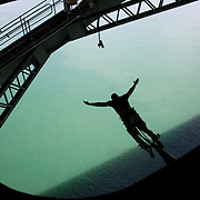 Bungy jumping from the Auckland Bridge, Auckland, New Zealand, 8th November 2010. Photo Tim Clayton..