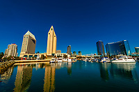 The Embarcadero Marina with Manchester Grand Hyatt San Diego behind, San Diego, California USA.