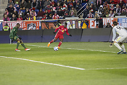 March 10, 2018 - Harrison, New Jersey, United States - Carlos Rivas (11) of Red Bulls controls ball during regular MLS game against Portland Timbers at Red Bull Arena Red Bulls won 4 - 0 (Credit Image: © Lev Radin/Pacific Press via ZUMA Wire)