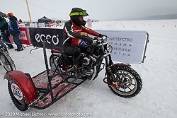 Vitaliy Timoshenko on his ice racer Harley-Davidson Sportster with sidecar at the Baikal Mile Ice Speed Festival. Maksimiha, Siberia, Russia. Thursday, February 27, 2020. Photography ©2020 Michael Lichter.
