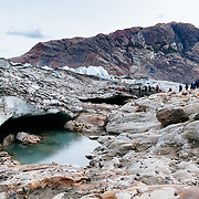 Tourists trek on the Viedma Glacier in Los Glacieres National Park near El Chalten, Argentina.