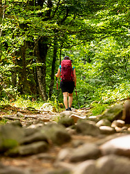 Women hiking through forest and rocks above Lac Vert at Col de la Schlucht in Vosges, France