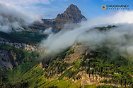 Rolling fog clouds with Reynolds Mountains at Logan Pass in Glacier National Park, USA