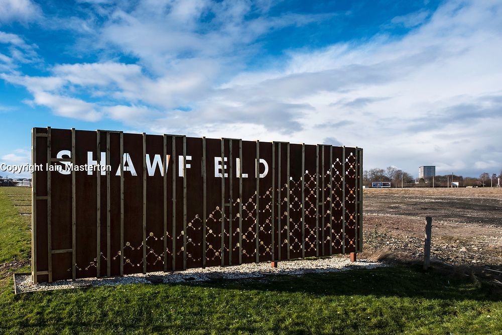 View of sign at Shawfield indicating land available for redevelopment in  East End of Glasgow , Scotland, United Kingdom