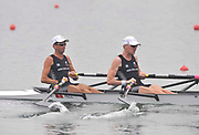 Shunyi, CHINA.  Heat of the Lightweight men's double sculls, NZL LM2X, Bow, TUre STORM and Peter TAYLOR, move away from the start, at the 2008 Olympic Regatta, Shunyi Rowing Course. Sunday 10.08.2008  [Mandatory Credit: Peter SPURRIER, Intersport Images]
