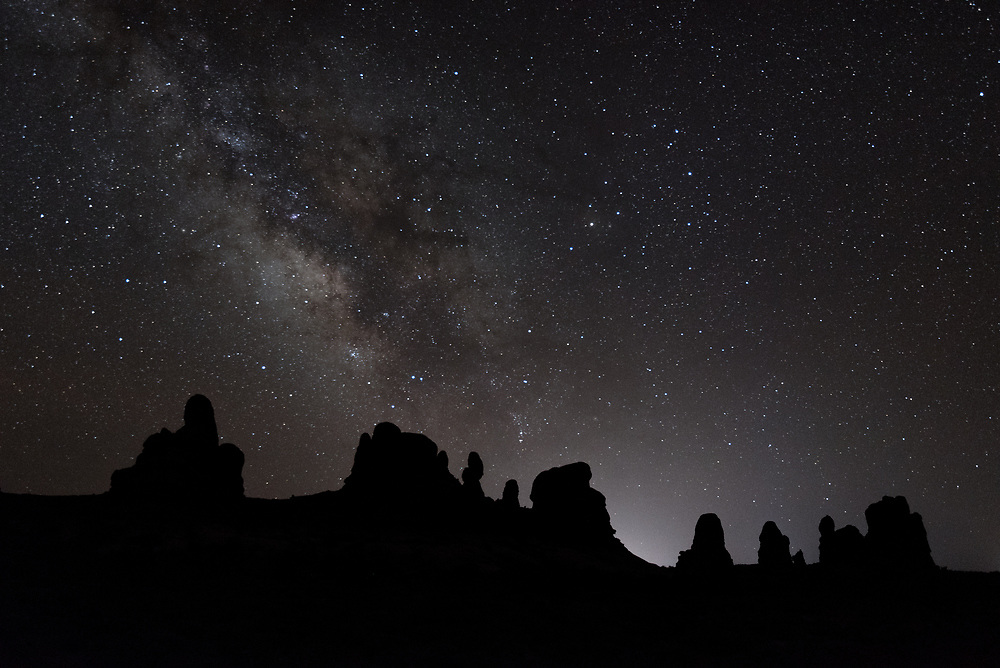 The Milky Way and constellation Scorpio adorn the night sky over Utah in Arches National Park.