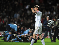 MK Dons v Scunthorpe Division One Playoff  Semi-Final (0-0 1-1 agg) 15/05/09<br /> Tore Andre Flo (MK Dons)  misses penalty and Scunthorpe celebrate victory<br /> Photo Roger Parker Fotosports International