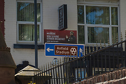 LIVERPOOL, ENGLAND - Monday, June 1, 2020: A tourism sign for Liverpool's Anfield Stadium outside a guest house on Anfield Road. (Pic by David Rawcliffe/Propaganda)