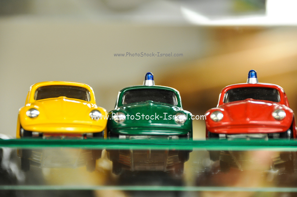 Volkswagen beetle miniature cars in a toy shop in Prague Czech Republic