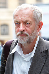 © Licensed to London News Pictures. 19/08/2015. London, UK. Labour Party leader candidate JEREMY CORBYN arrives at BBC Broadcasting House in London to attend The World at One programme on Radio 4 on Wednesday, August 19, 2015. Photo credit: Tolga Akmen/LNP