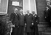 """Plaque to honour John McCormack..1966..27.09.1966..09.27.1966..27th September 1966..Legendary tenor """"Count"""" John McCormack was remembered today with the unveiling of a plaque at the house where he lived at Rock Road, Booterstown...The American Ambassador to  Ireland, Raymond R. Guest, unveilled a plaque at """"Glena"""", Rock Road, Booterstown, Co. Dublin, the house in which John Count McCormack, the world famous Irish tenor, died 21 years ago. Pictured at the ceremony are Dr. John F. Larchet, President of the John McCormack Society of Ireland; Cyril Count McCormack, son of the late John McCormack; President Eamon de Valera; and the American Ambassador Raymond R. Guest..27.09.1966, John Francis McCormack, Count of the Holy Roman Church, (14 June 1884 – 16 September 1945), was an Irish tenor celebrated for his performances of the operatic and popular song repertoires, and renowned for his diction and breath control. He was also a Papal Count. He became a naturalised American citizen before returning to live in Ireland."""