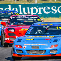 The three Mazda RX7 Street Cars of Kerry Wade, Graham Stones and Matt Cherry heading onto the main straight at Wanneroo Raceway.