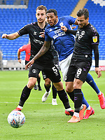 Football - 2019 / 2020 Championship - Cardiff City vs Charlton Athletic<br /> <br /> Nathaniel Mendez-Laing of Cardiff City is blocked by  Jake Forster-Caskey of Charlton & Tom Lockyer of Charlton in front of goal, at the Cardiff City Stadium.<br /> <br /> COLORSPORT/WINSTON BYNORTH