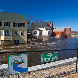 The Loaf and Ladle restaurant being flooded by the Exeter River in Exeter, New Hampshire.  March 2010 flood.
