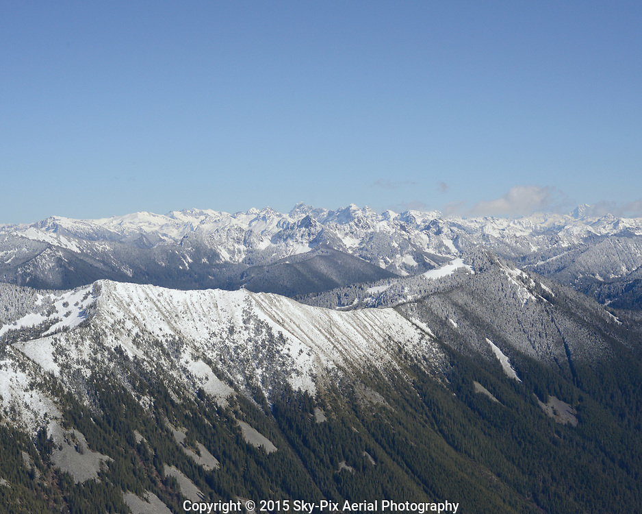 Aerial view of the Cascade Mountains at Revolution Peak.