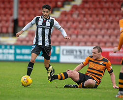 Dunfermline's Faissal El Bakhtaoui and Alloa Athletic's Andy Graham. Dunfermline 2 v 2 Alloa Athletic. Alloa win on penalties. Irn Bru cup game played 13/10/2018 at Dunfermline's home ground, East End Park.