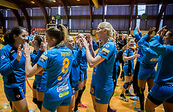 Ana Abina of RK Krim Mercator, Polona Baric of RK Krim Mercator, Lara Hrncic of RK Krim Mercator celebrate after the handball match between RK Krim Mercator and ZRK Z'Dezele Celje in Last Round of Slovenian National Championship 2016/17, on April 18, 2017 in Arena Galjevica, Ljubljana, Slovenia. Photo by Vid Ponikvar / Sportida