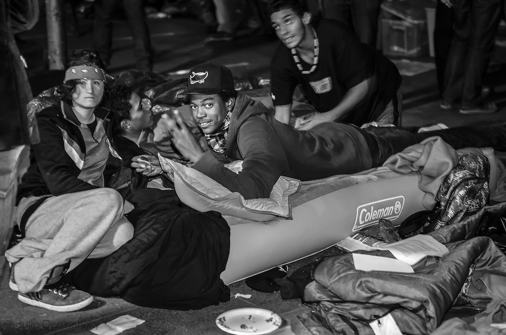 October 4, 2011 in New York City,protestors in the Occupy Wall Street movement sleep in Zuccotti Park. The protestors are fighting for social and economic justice.