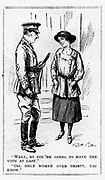 Votes for Women - the first step. Under the 1918 Representation of the People Act, British women were given the vote. However, it was not for all women, only those over 30 who owned property. Cartoon from 'Punch', London, 11 April 1917.