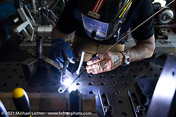 Billy Lane working in his new shop in Columbia, TN after moving from Florida. Monday, May 24, 2021. Photography ©2021 Michael Lichter.